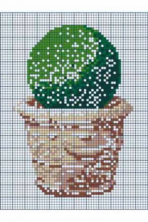 Cross stitch: potted topiary manoir Eyrignac