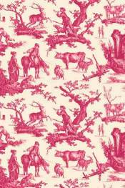 Metre 100% percale cotton fabric - 150cm - Plaisirs Campagne pink