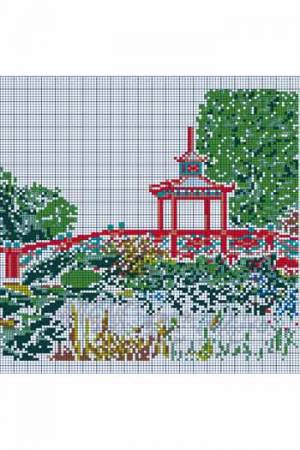 Cross stitch Pagoda Bridge from the Floral Parc in Apremont