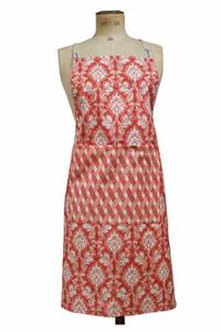 Sajou apron cooking and crafts Damas red Renaissance-inspired fabric