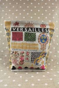 Front of Sajou Versailles large linen pouch blue lining