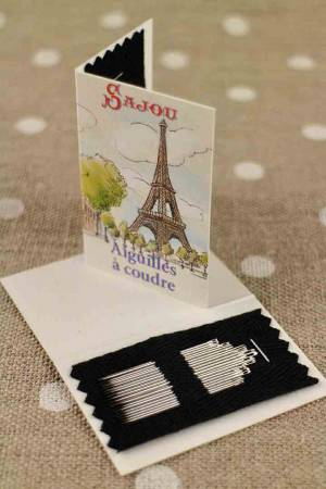 20 sewing needles - sizes 3, 5, 7 & 9 - Eiffel Tower booklet