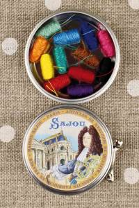 Sajou King Louis XIV round metal tin with 12 bright tones polyester sewing thread cocoons