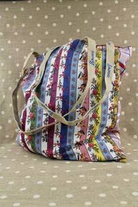 Sajou tote bag Coquecigrues striped and checks - striped side