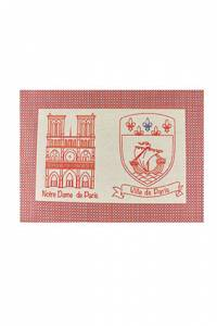 Sajou table mat cotton piqué Notre Dame and Paris crest
