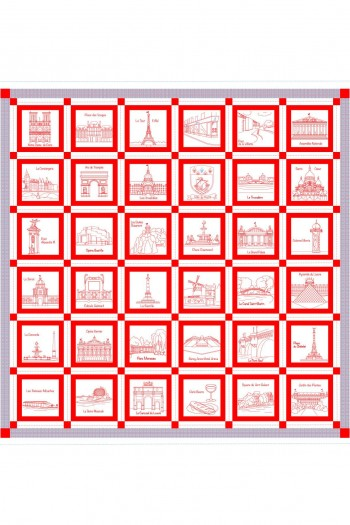 Sajou Monuments de Paris plaid - cotton piqué swatch 156 x 144cm