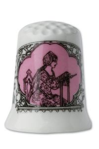 Fine white porcelain collectors thimble Embroiderer - pink