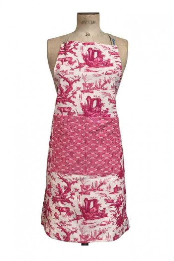 Sajou apron cooking and crafts Plaisirs de la Campagne pink fabric