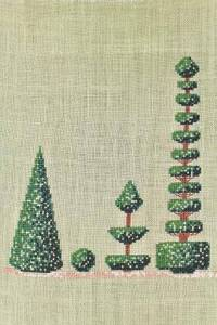 Cross stitch kit: Topiaries