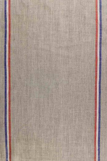 Sajou tea towel in rustic linen blue white and red band