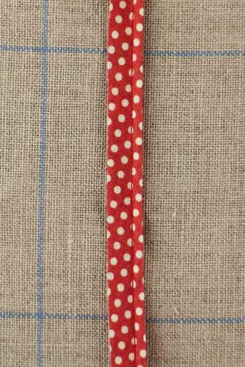 2mm cord cotton piping with Sajou Damas red coordinate 2 fabric