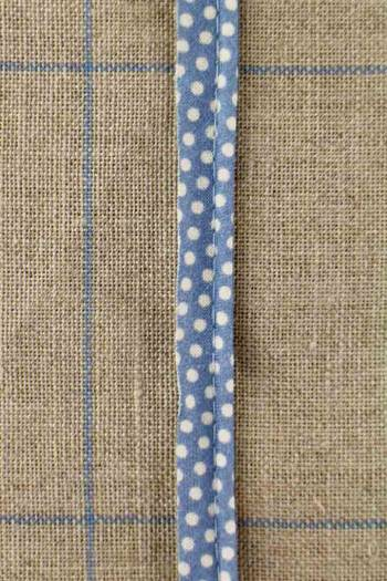 2mm cord cotton piping with Sajou Damas blue coordinate 2 fabric