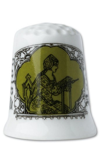 Fine white porcelain collectors thimble Embroiderer - green