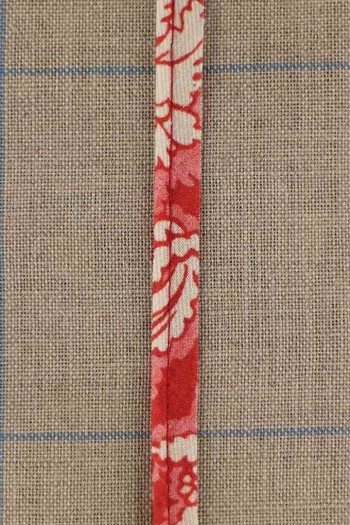2mm cord cotton piping with Sajou Damas red main fabric