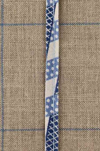 2mm cord cotton piping with Sajou Damas blue coordinate 1 fabric