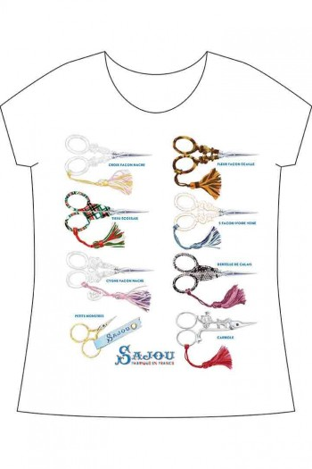 Sajou white t-shirt Embroidery Scissors Private Collection