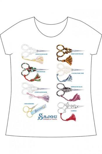 Weißes Sajou-T-Shirt Stickscheren Sajou-Privatkollektion