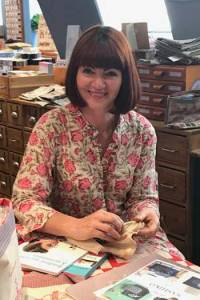 Rebecca Devaney who teaches the embroidery classes in English in the Sajou Paris store