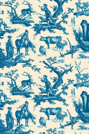 Sajou Plaisirs de la campagne blue fabric swatch main motif