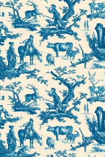 Sajou Plaisirs de la campagne blue fabric swatch main motif