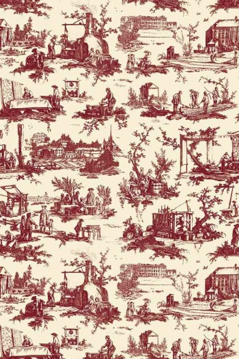 Sajou Travaux de la Manufacture bordeaux fabric swatch main motif