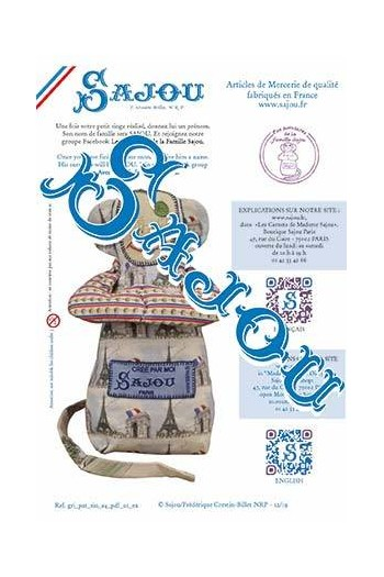 Sajou downloadable monkey pattern A4 page 1 in French and in English