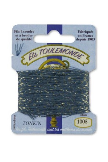 Tonkin embroidery thread polyester / gold lurex strand 1008 Slate
