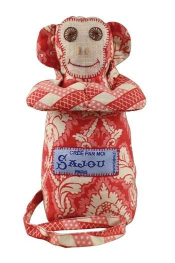 Sajou monkey Damas red main fabric