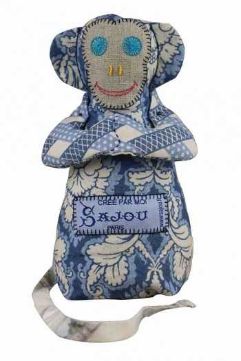 Sajou monkey Damas blue main fabric