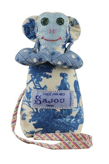 Sajou monkey Plaisirs de la campagne blue main fabric