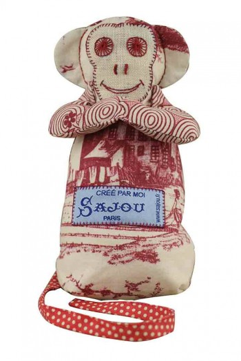 Sajou monkey Travaux de la Manufacture bordeaux main fabric