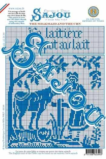 Downloadable A4 Sajou monochrome pattern chart The Milkmaid and the Urn