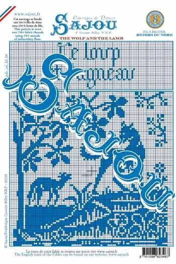 Downloadable A4 Sajou monochrome pattern chart The Wolf and the Lamb
