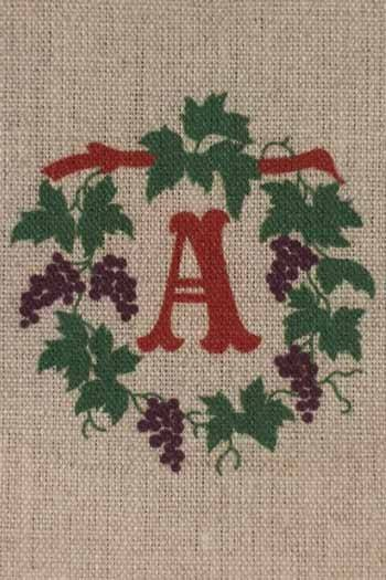 Sajou letter A vines traditional embroidery print
