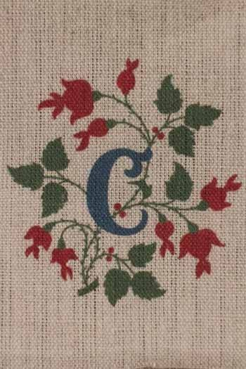 Sajou letter C cranberries traditional embroidery print