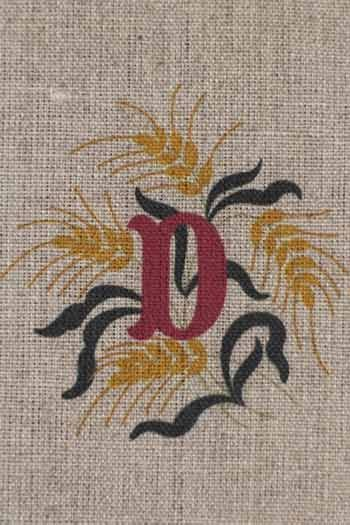 Sajou letter D ears of wheat traditional embroidery print