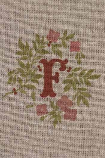 Sajou letter F flowers and berries traditional embroidery print