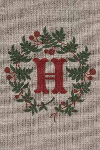 Sajou letter H holly decor traditional embroidery print