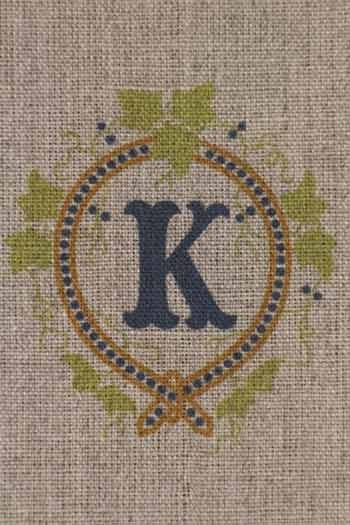 Sajou letter K ivy decor traditional embroidery print