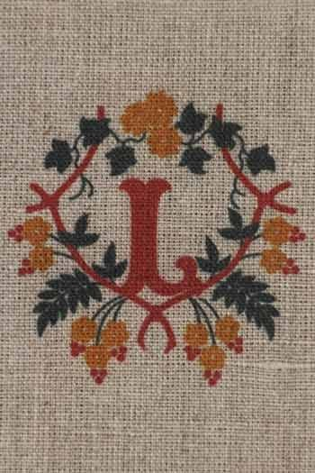 Sajou letter L nasturtiums traditional embroidery print
