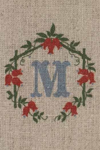 Sajou letter M foxgloves traditional embroidery print