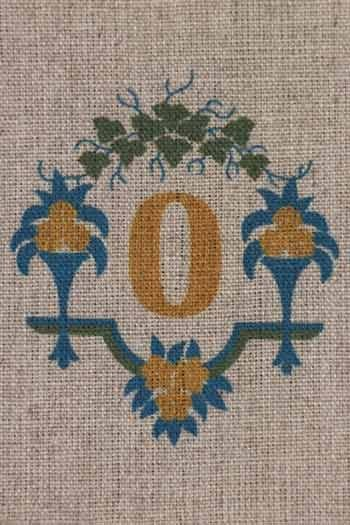 Sajou letter O flower vases traditional embroidery print