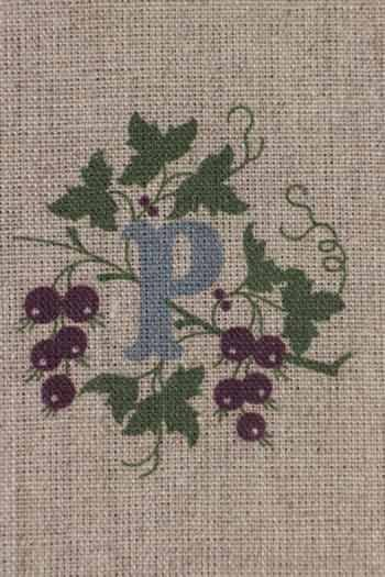 Sajou letter P blackcurrants traditional embroidery print
