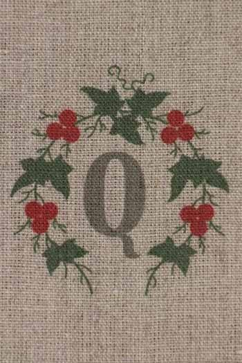Sajou letter Q redcurrants traditional embroidery print