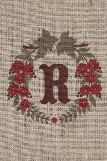 Lettre Sajou R couronne de fleurs broderie traditionnelle non brodée