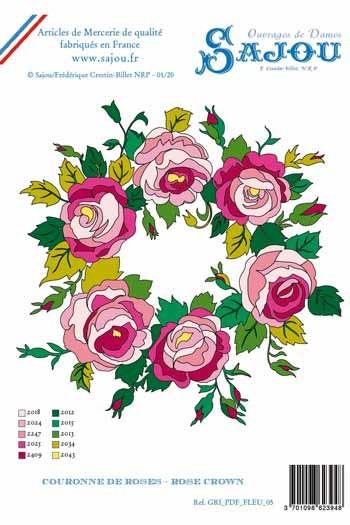 Motif broderie Sajou téléchargeable A4 couronne de roses suggestions de coloris