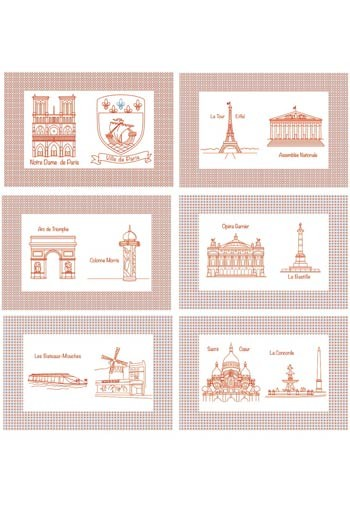 Six table mats cotton piqué - Monuments de Paris - series 1