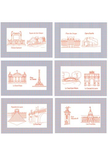 Six table mats cotton piqué - Monuments de Paris - series 2