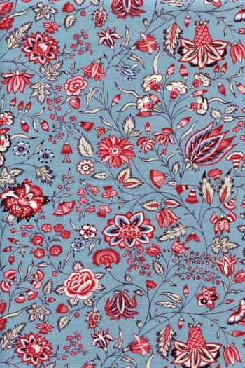 50 x 55cm swatch indienne fabric motif 6 on blue