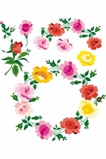 Sajou downloadable embroidery motifs A4 roses colour suggestions